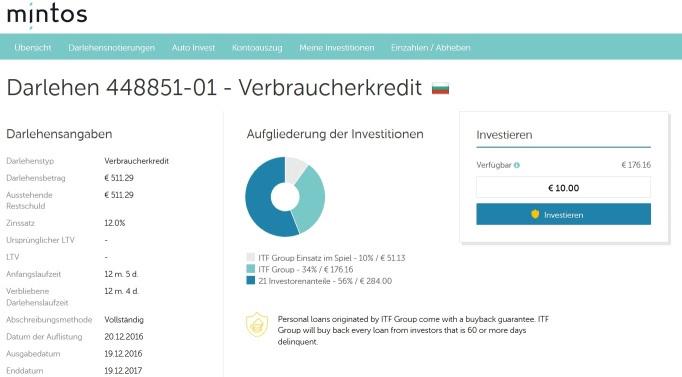 Bulgarische P2P-Kredite auf Mintos