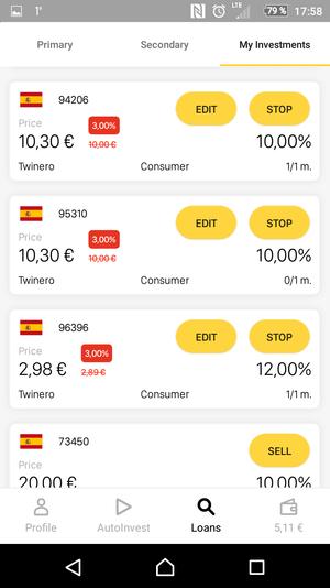 Viventor App eigene Investitionen Übersicht