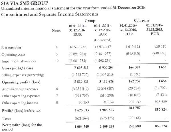 Gewinn- und Verlustrechnung ViaSMS ViaInvest