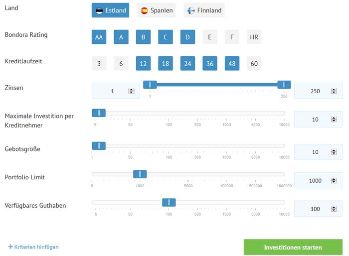 Bondora P2P-Kredite Portfolio Pro Einstellungen